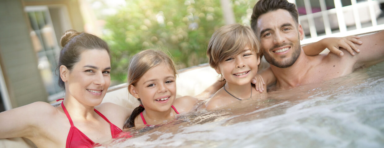 spending time as a family in the hot tub