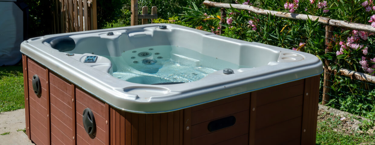 full hot tub, hot tub maintenance or pumping concept